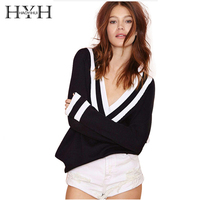 HAOYIHUI Hot Sale Pullover Sweaters Long Sleeve Striped V Neck Women Tops Warm Winter Clothing
