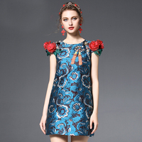 2018 Spring New Fashion 3D Flowers Print Mini Dress High Quality European Short Sleeve Above Knee Mini Slim Blue Cute Dress
