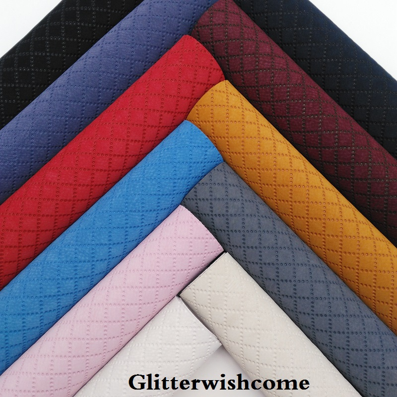 Glitterwishcome 21X29CM A4 Size Vinyl For Bows Embossed Plaids Suede Leather Fabirc Faux Leather Sheets For Bows, GM163A