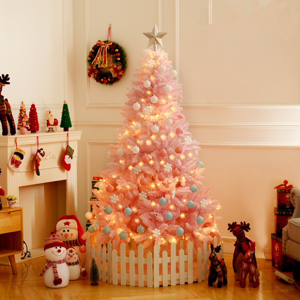 Christmas Tree Decorations For 2019: 2019 Christmas Led Artificial Tree Snow Flocking Pink Fake