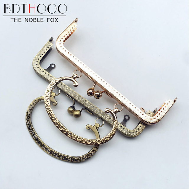 Bdthooo 5pcs Lot 20cm Metal Kiss Clasp Lock Purse Frame Embossed Handle For Clutch Handbag