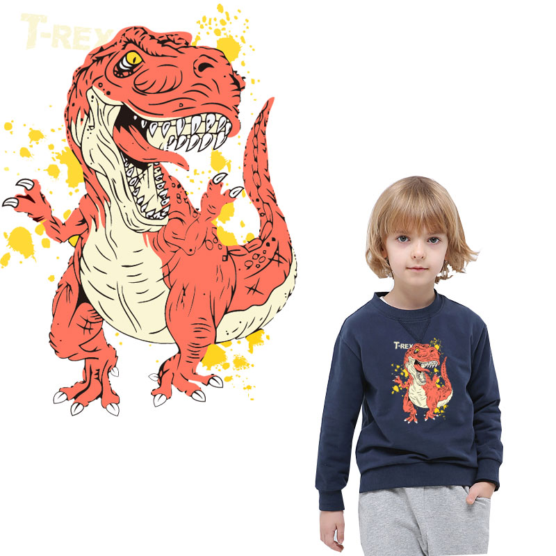 red dinosaur iron on patches for clothing heat transfer stickers on clothes transfert thermocollants t shirt diy patch vetement in Patches from Home Garden
