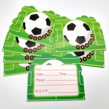Купить с кэшбэком Baby Shower Decoration Cartoon Soccer Ball/Football Theme Party Invitation Cards Kids Boys Favors Happy Birthday Supplies 10PCS