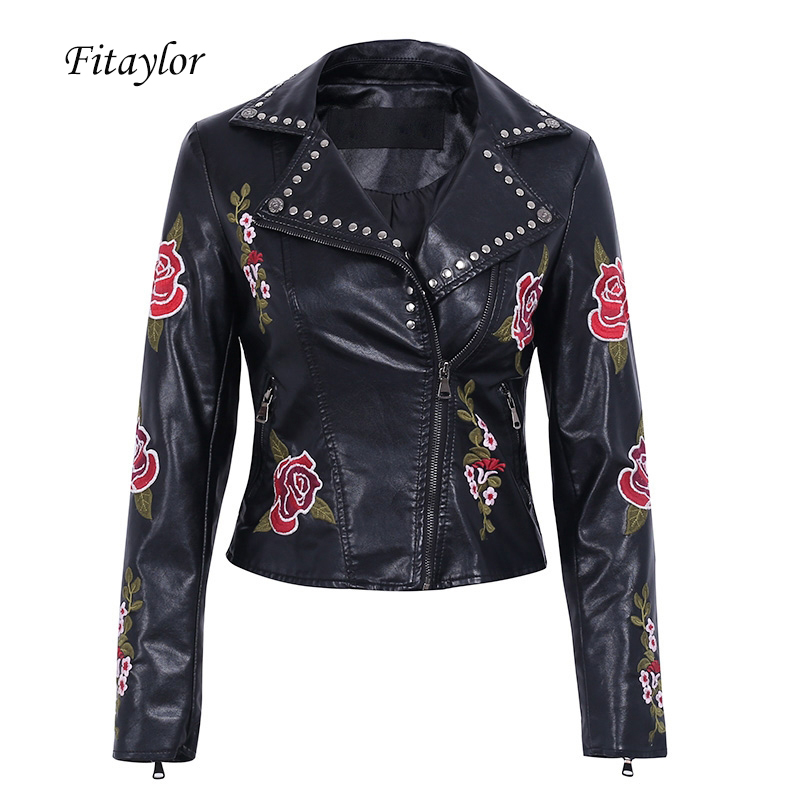 Fitaylor Pu   Leather   Rivet Embroidery Jacket Women Short Coat Faux Soft   Leather   Black Punk Female Slim Turn-down Collar Outerwear