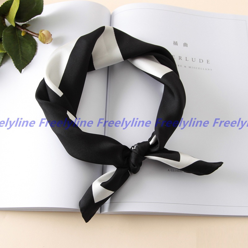 Black White Printed Neckerchief Bandana Headwear Small Square Silk   Scarf   100% Silk Twill   Scarf   Women   Scarves   &   Wraps   Foulard