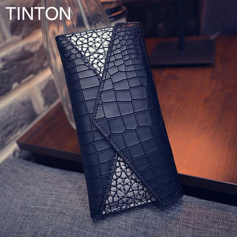 TINTON 2018 ladies personalized crocodile leather purse embossed vintage PU leather hand long bag holder wallets purse card bit