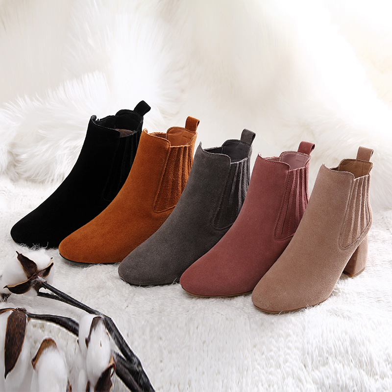 L&T Autumn Winter Fashion Shoes Woman COW Suede Leather Boots Ladies Thick High Heel Ankle Boots Party Shoes Chelsea dunlop winter maxx wm01 205 65 r15 t
