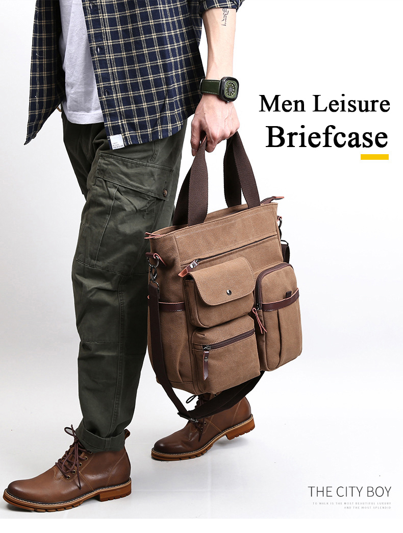 HTB1FJDzev1G3KVjSZFkq6yK4XXaR Jorgeolea Men Canvas Business Briefcase Versatile Casual Handbag For Men Travel Satchel E502