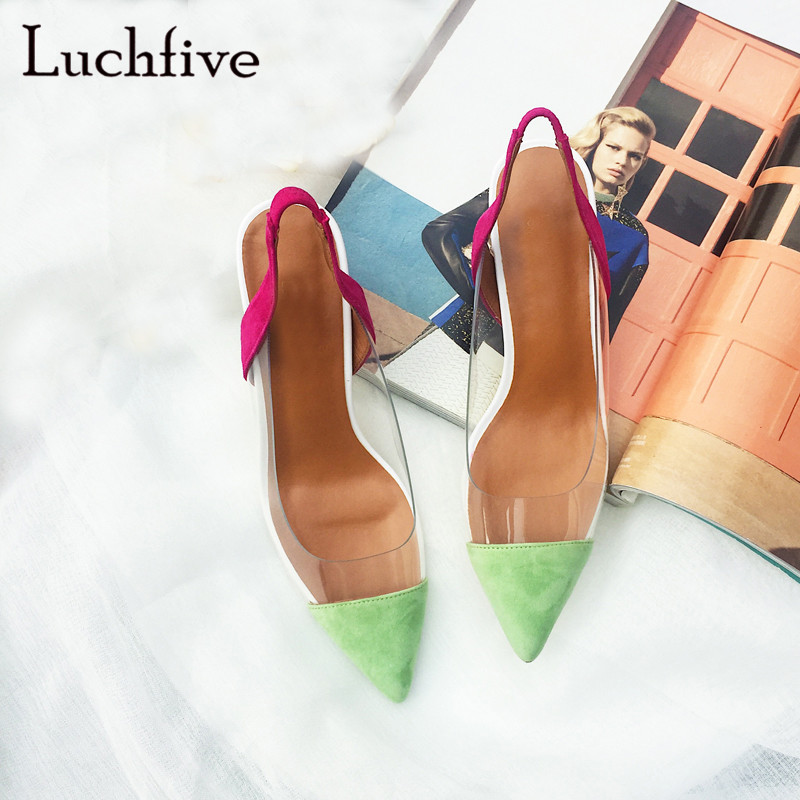 New transparent women sandals sexy pointed toe shallow slip on ladies shoes elegant outwear geninue leather summer 2018New transparent women sandals sexy pointed toe shallow slip on ladies shoes elegant outwear geninue leather summer 2018