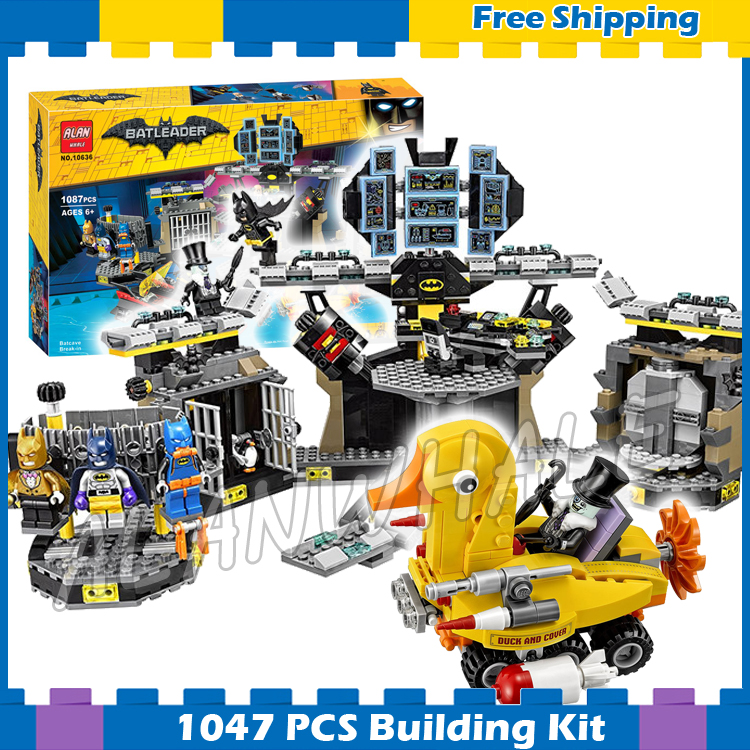 1047pcs Super Heroes Batman Movie Batcave Break-in Bat Base 10636 Model Building Blocks Children Gifts Sets Compatible with Lego