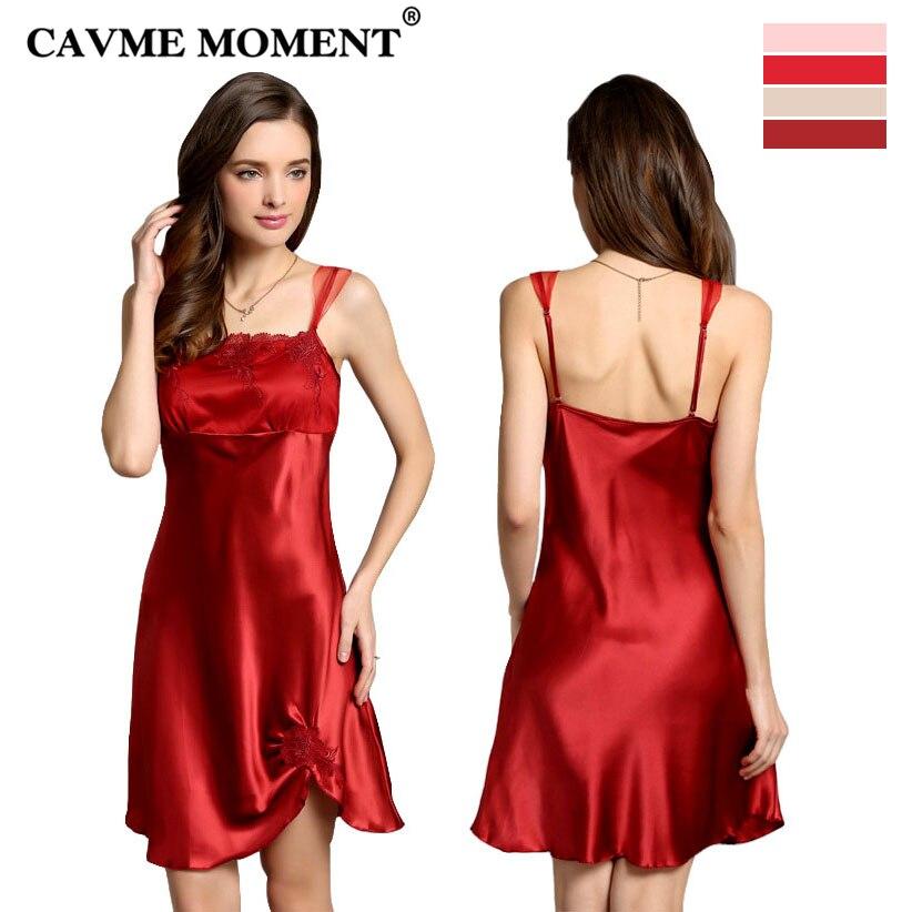 CAVME 2019 Luxury Silk Lace Spaghetti Strap Nightgowns for Women Sexy Sleepshirts Elegant Solid Sleepwear Sleeveless Homewear