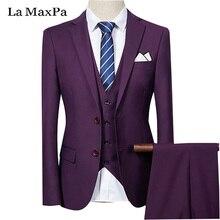 LA Maxpa (jacket+pants+vest) male singer males swimsuit spring informal slim match enterprise promenade groom occasion marriage ceremony double buckle swimsuit
