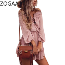 ZOGAA Boho Chiffon Dresses Slash Neck Beach Summer Mini Dress Lantern Long Sleeve Ruffle Women Sexy Party Vintage