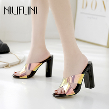 Fashion Transparent Thick Heel Womens Slippers 2019 Summer New High Heels Casual Sandals Square Head Ladies Shoes