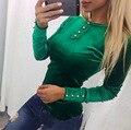 Высокое качество о-образным вырезом кнопки с длинным рукавом бархат футболка женщины мода slim top sexy ladies мода велюр тройник бесплатная доставка S-XL