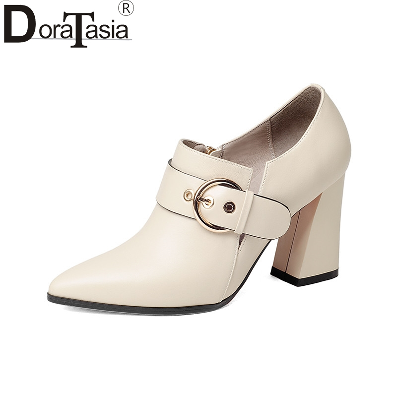 DoraTasia 2018 Spring Autumn Elegant Buckle Strap Women Pumps Overall Genuine Leather Ol Shoes Woman High Heels Beige Shoe stylesowner elegant lady pumps sandal shoe sheepskin leather diamond buckle ankle strap summer women sandal shoe