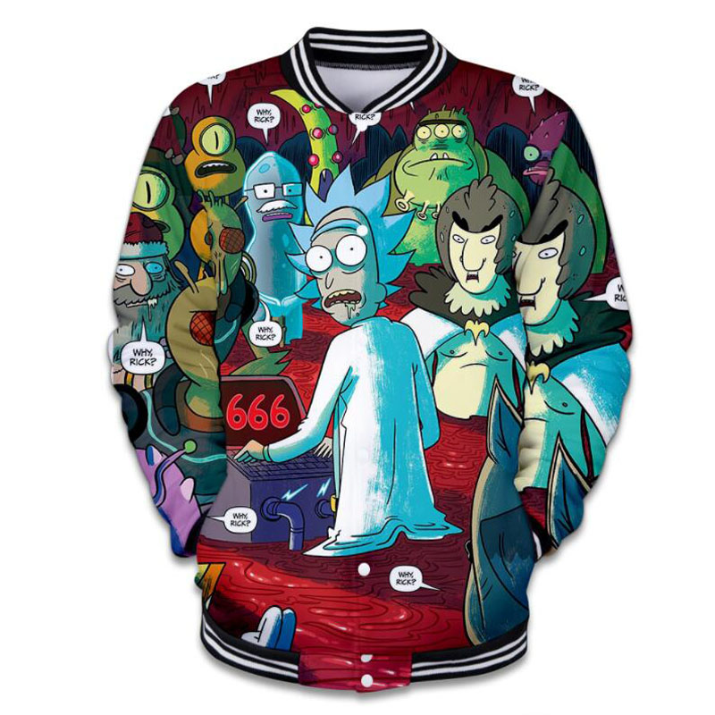 Rick and Morty Print 3D Baseball Jacket Casacos Masculino Winter Fashion Streetwear Hip Hop College Bomber Jacket Men Women 4XL