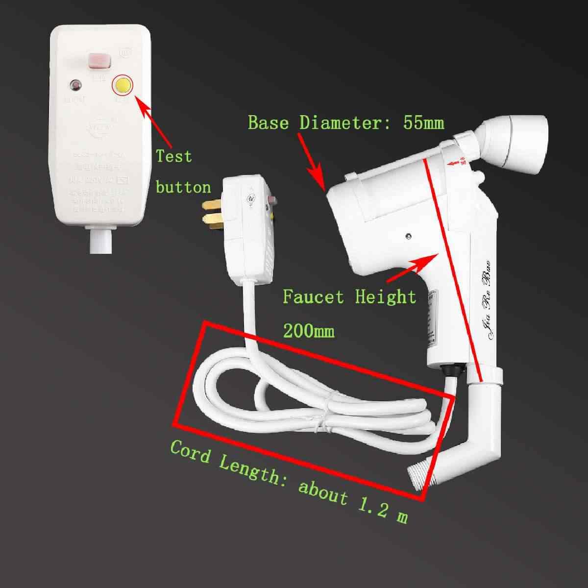 Elektrische Dusche Heizung Wasserhahn 3000W 220V 50Hz Wasser Heizung Power Kopf Spray Wasserhahn Griff Einzigen Loch dusche Kopf Ersatz