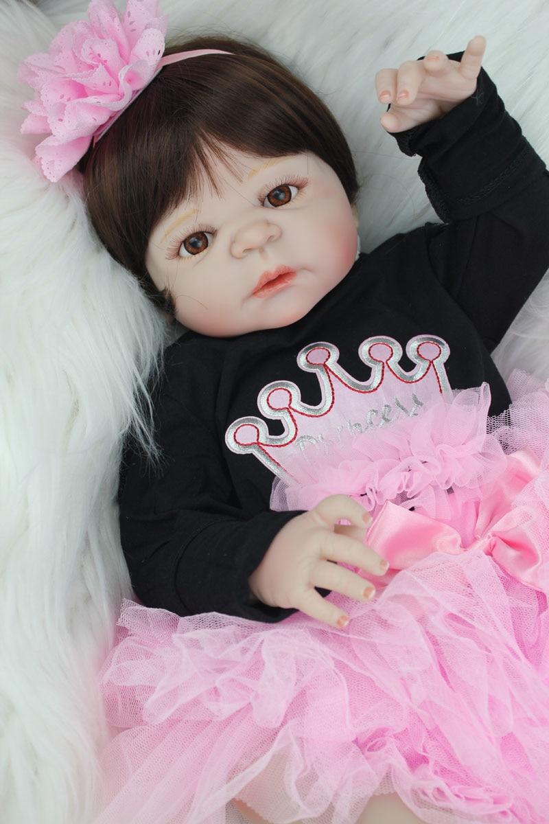 55cm Full Body Silicone Reborn Baby Doll Toy Like Real 22inch Newborn Girl Princess Toddler Babies Doll Xmas Birthday Gift котмаркот лонгслив