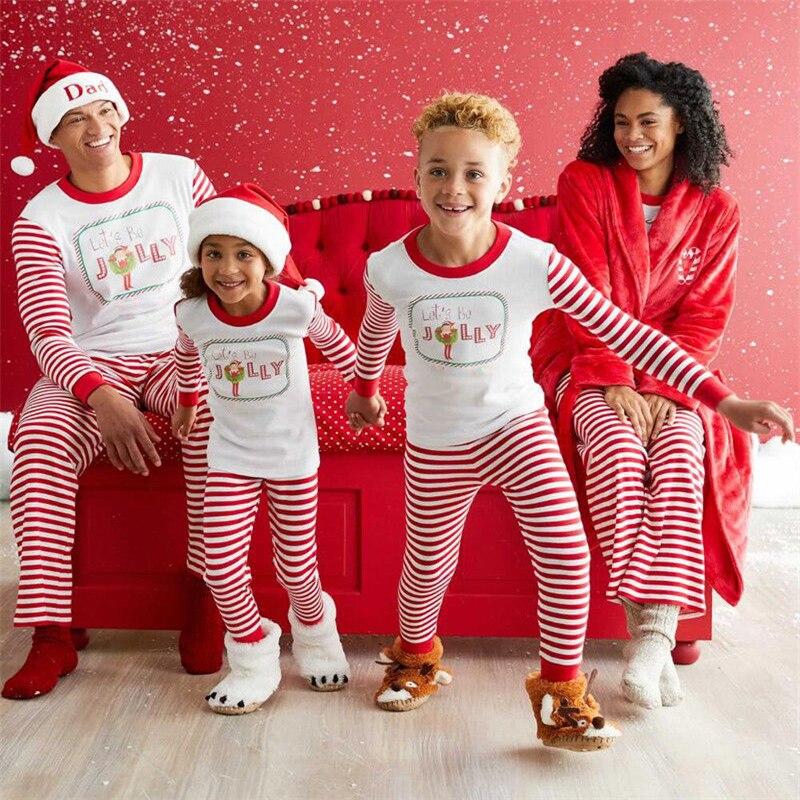 Xmas Family Matching Sleepwear Nightwear Mom Dad Kids Christmas Pajamas PJs Set Family Match Top+Stripe Pants New Years Costume