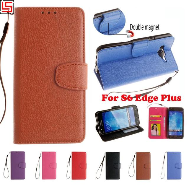 High Quality PU Leather Lather Flip Wallet Phone Case coque Cover Cove For Samsung Galaxy S6 Edge Plus Rose Blue Red Purple