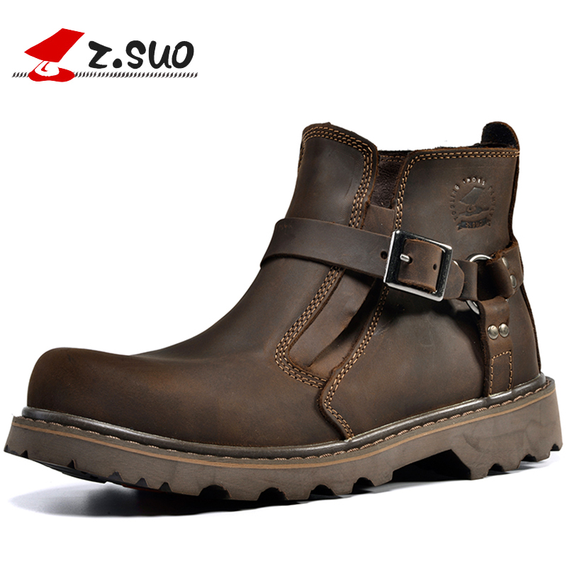 British Retro Boots Fur Plush Warm Men Genuine Leather Brown Vintage Motorcycle Boots 2017 Casual Shoes Buckle Zapatillas Hombre