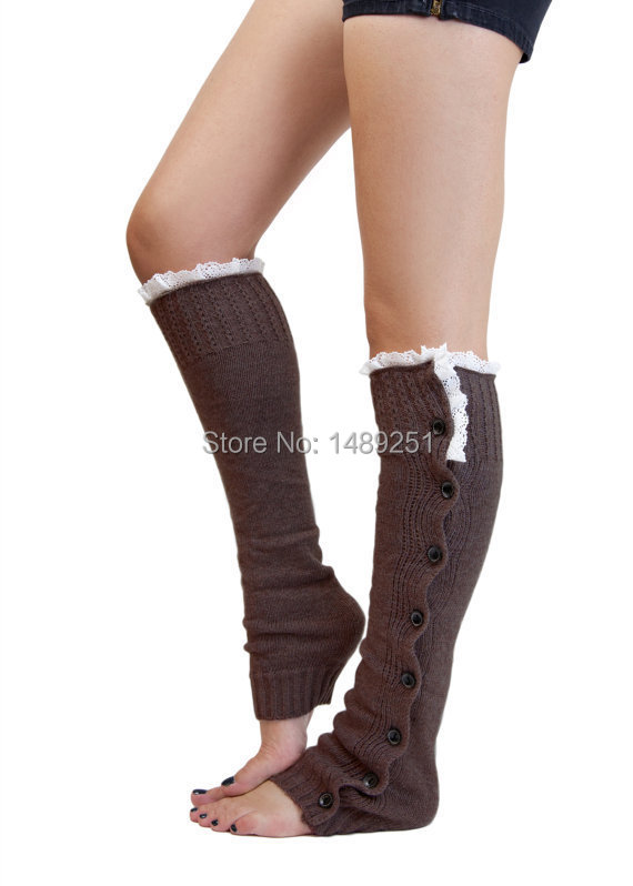 Long Solid Button Down Lace Knitted Stockings Women Warm Boot Stocking Fashion Designer Lace Over Knee Socks Wholesale