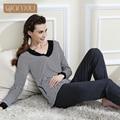 High Quality Spring & Autumn Brand Casual Stripe Pajamas sets Women Modal Cotton Homewear V Neck Sleepwear
