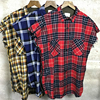 Quality Sleeveless Brushed Flannel Shirt Zipped Side Slits Ripped Armholes Plaid Tops Free Shipping