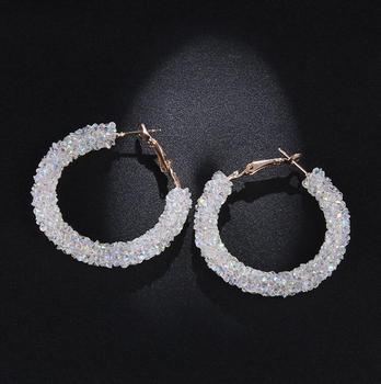 Women's Stylish Hoop Earrings with Colorful Crystals Earrings Jewelry Women Jewelry Metal Color: C1074-WHITE