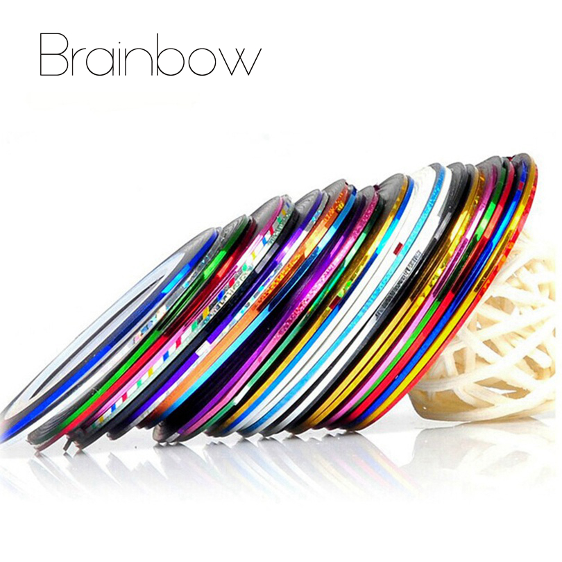 Brainbow 20 Colors/set Metallic Rolls Striping Tape Line Nail Art Sticker Tools Beauty Nail Decorations for Nail Stickers Salon 14 rolls glitter scrub nail art striping tape line sticker tips diy mixed colors self adhesive decal tools manicure 1mm 2mm 3mm