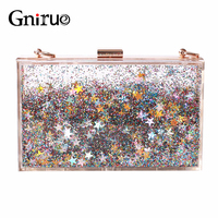 Transparent Rectangular Liquid Quicksand Acrylic Clutch Evening Bag Women Shoulder Bags Sequins star Party Clear Purse Handbag