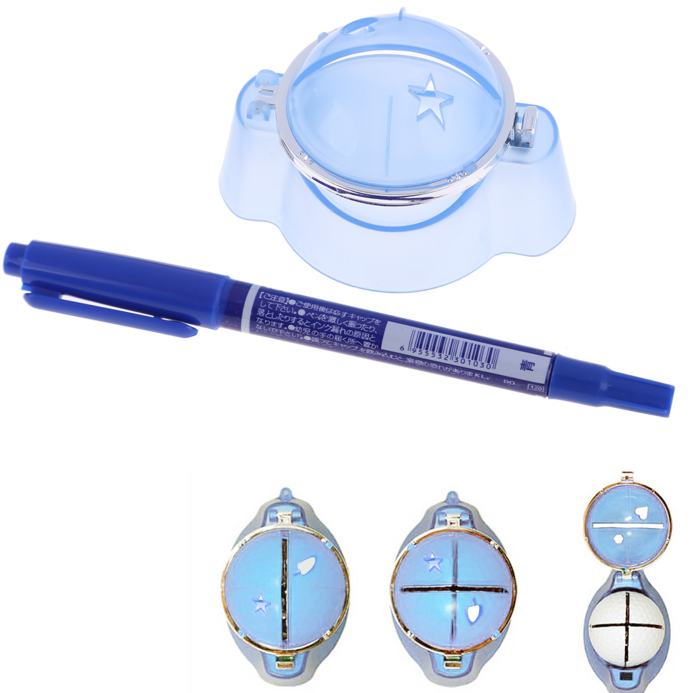 Golf Ball Liner Marker Template Drawing Alignment Tool Plastic + Pen Blue Golf Training Aids Accessories SS