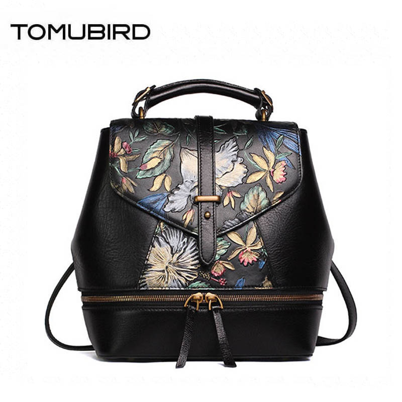 TOMUBIRD Superior cowhide Painted Embossed famous brand women bag luxury genuine leather backpack women bags tote