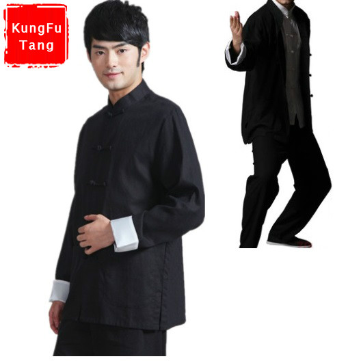 KungFuTang chinese traditional male tang suit Black Bruce lee style Kung Fu uniform Wing Chun suits taiji tai chi clothes set диван tang bo fu