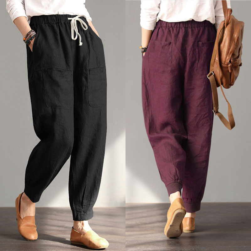 Women's elastic waist drawstring loose large size cotton casual trousers women's long   pants   fashion   Capris