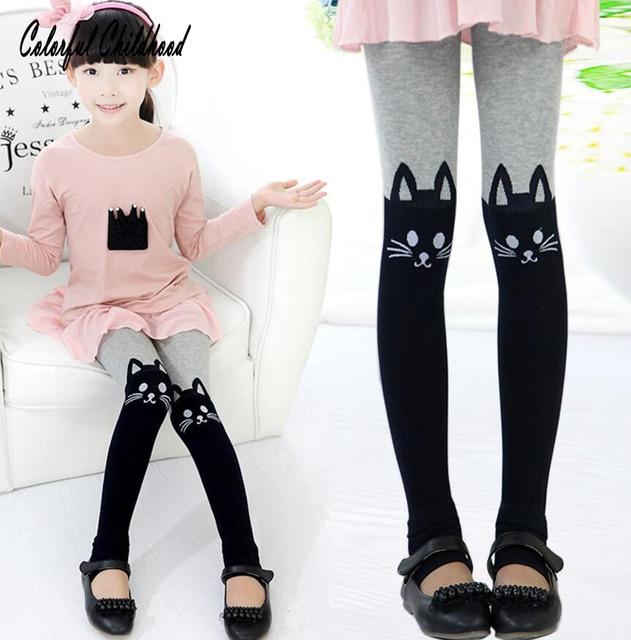c58689618 Toddler Girls Leggings Cute Cat Colorful Cotton Warm Baby Girl ...