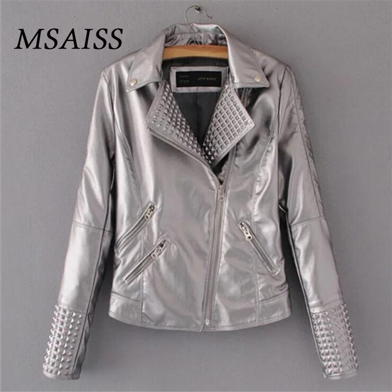 MSAISS Women Autumn jacket Punk Style Short   Leather   Coat Faux   Leather     Suede   Jacket Women PU   Leather   Coat Female S-XL