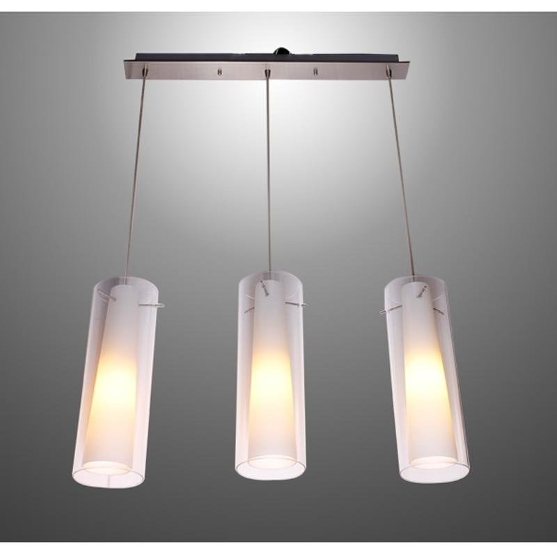 Новый современный Стекло Кухня бар подвесной светильник 3 огни e27 место прямоугольник навес подвеска висит кулон Освещение pl39 3