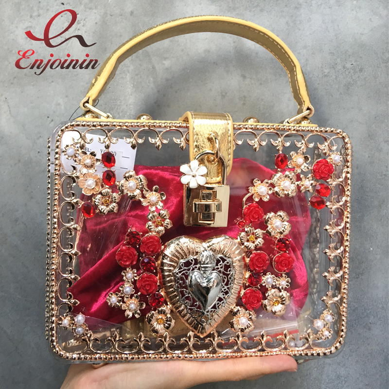 New Luxury bright hollow diamond heart-shaped pearl flowers lock ladies party clutch shoulder bag messenger bag purse acrossbody luxury diamond flowers hollow relief acrylic clutch evening bag lock ladies handbag mini flap box shape bag shoulder party purse