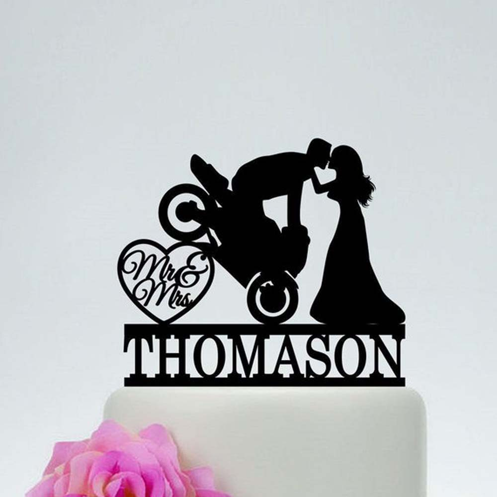 Personalized Dirt Bike Couple with Initials Wedding Cake Topper