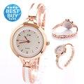 Reloj mujer 2016 Nova Moda Casual Marca De Luxo Pulseira Relógio de Ouro Rosa Mulheres Vestido Relógios Relogio feminino quartzo-relógio