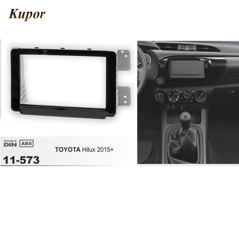 11-573 Car Radio Fascia Panel for TOYOTA Hilux 2015+ Stereo Fascia Dash CD Trim Installation Frame Kit Support 173*98mm
