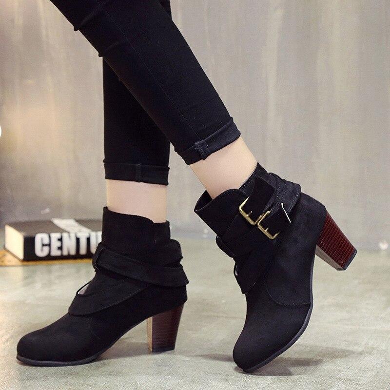 Tailles Chaussures Mujer Femmes Nouvelles Talons Haute jaune Boucle Carrés Plus Automne Bottines 42 Noir Bottes Botines marron lTK1JFc
