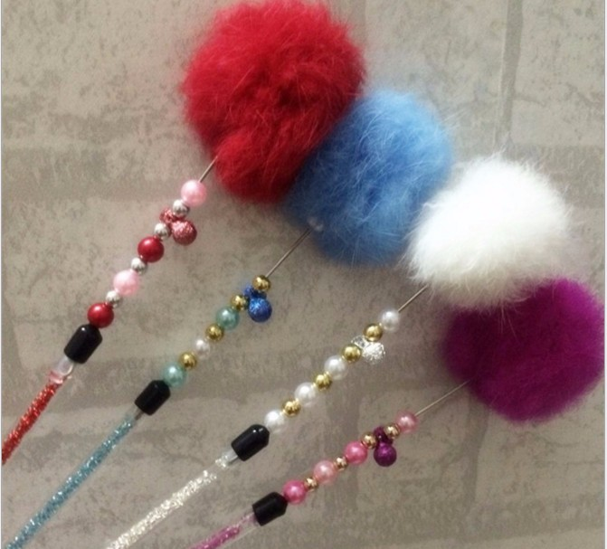 usd 1 2 Free shipping real rabbit fur ball cat fishing stick pole colorful cat playing