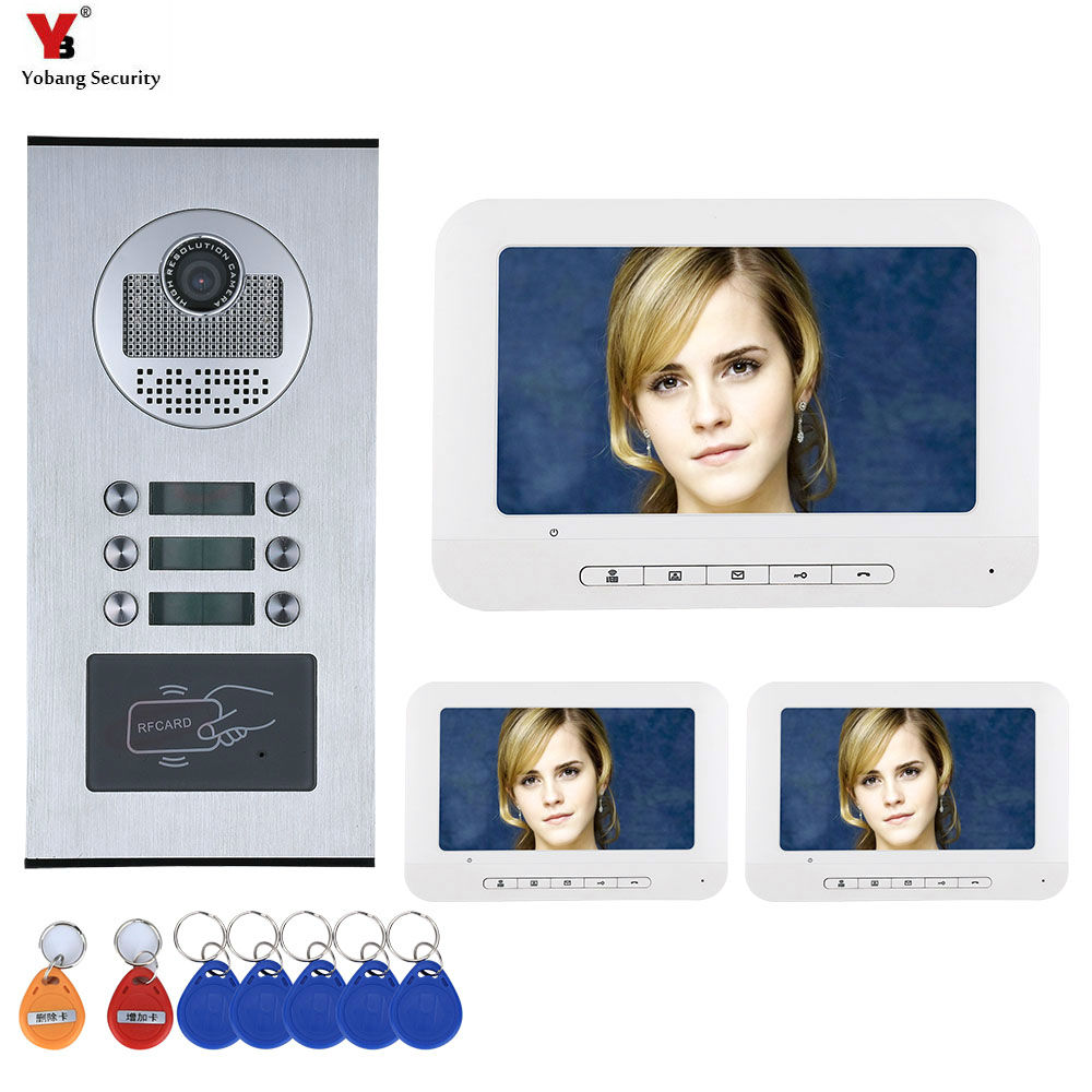 YobangSecurity 7'' Wired Video Door Phone Intercom System RFID Access Entry Camera Door Bell 3 Monitors Multi- Apartments/Family