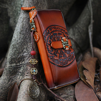Punk Vegetable Tanned Leather Handmade Long Wallet Men's Clutch Jiugongge Retro Zipper Capacity Large Wallet Brown zuoyi crocodile leather original zipper snap multifunctional in large capacity and long wallet