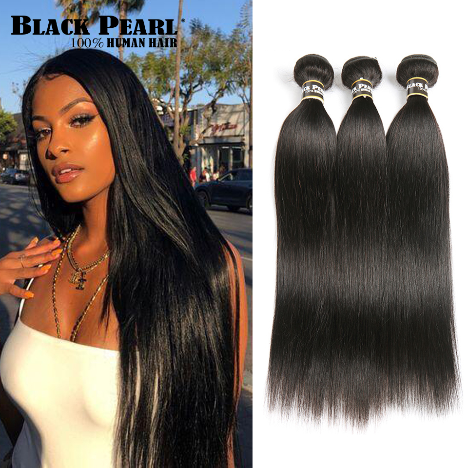 Human Hair Weaves Black Pearl Peruvian Hair Weave Bundles 1/3/4 Bundles Deals 100% Straight Human Hair Bundles 8 To 30 Inch Remy Hair Extensions Hair Weaves