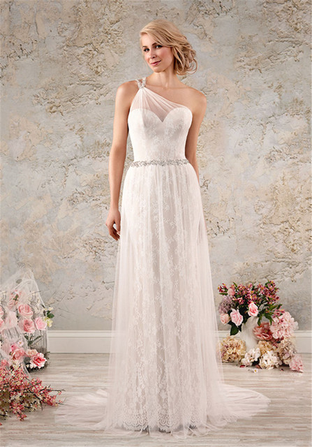 Ssingle Shoulder Overlay Lacy Modern Vintage Wedding Dress 8563 ...