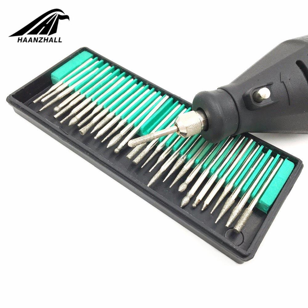 30PCS 3mm Mini Drill Bits Diamond Burs Grinding Wheel Abrasive Shank Wood Stone Engraving For Dremel Power Tools Accessories